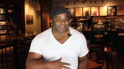 Shyan Selah being interviewed at Starbucks in Lacy, WA