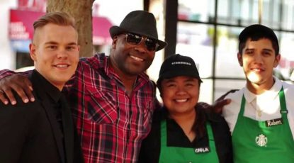 Shyan Selah with staff at Starbucks on Melrose Ave in Los Angeles, CA