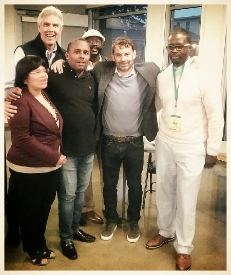 Pictured left to right: Executive Director of El Centro de la Raza, Estela Ortega; former Seattle SuperSonic, Wally Walker, President of NAACP (Alaska, Oregon, Washington State Area Conference); Chairman of the Pacific Northwest Aerospace Academy, Ty Peterson, Chris Hansen; and Abin Nellams.